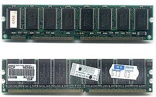 DIMM computer memory module that has separate electrical contacts on each side of the module and a 64-bit data path