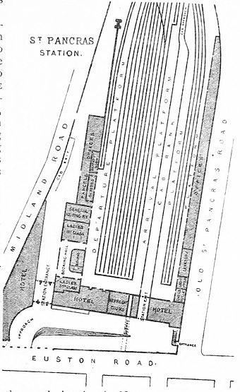 Plan of St Pancras in 1888 DISTRICT(1888) p137 - St Pancras Station (plan).jpg