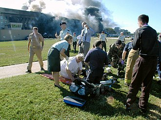 Triage - Triage station at the Pentagon after the impact of American Airlines Flight 77 during the September 11, 2001 attacks.