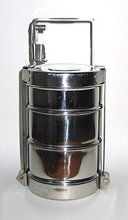 Tiffin carrier kind of lunch box used widely in South Asia for tiffin meals
