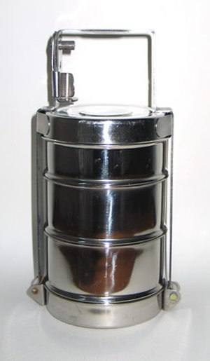 Tiffin carrier - A dabba, or Indian-style tiffin carrier.