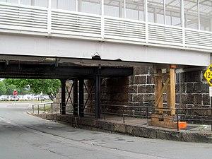 Beverly Depot (MBTA station) - The damaged pedestrian bridge in May 2017
