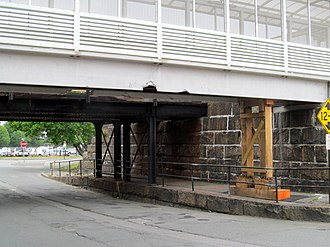 Beverly Depot - The damaged pedestrian bridge in May 2017