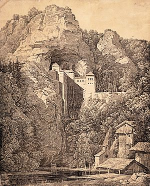 Predjama Castle - 1816 lithography of the castle by Karl Friedrich Schinkel