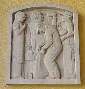 United States Post Office (Berkeley, California) - Image: David Slivka Bas Relief