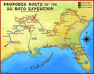 "Charles M. Hudson - A map showing a proposed de Soto Expedition route, based on the 1997 Charles M. Hudson book ""Knights of Spain, Warriors of the Sun""."