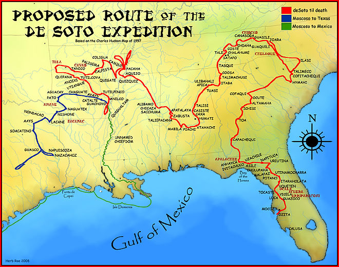 A map showing the de Soto route through the Southeast, 1539-1542 DeSoto Map HRoe 2008.jpg