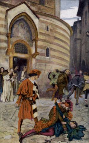 Mercutio - Romeo and Juliet Act III Scene I The Death of Romeo's Friend, Mercutio. Edwin Austin Abbey, 1904.