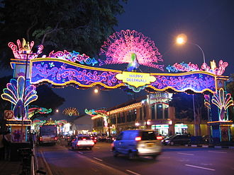 The Indian diaspora is the world's largest, Deepavali lights at Little India, Singapore. Deepavali, Little India, Singapore, Oct 06.JPG