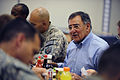 Defense.gov News Photo 110711-F-RG147-742 - Secretary of Defense Leon E. Panetta has lunch with troops at Camp Victory, Iraq, on July 11, 2011.jpg
