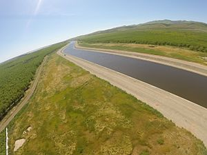 Delta–Mendota Canal - Oblique aerial photo with fish eye lens of the Delta Mendota Canal north of Patterson, California.