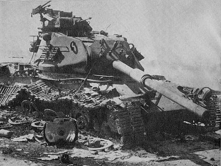 An Israeli M60 Patton tank destroyed in the Sinai. Destroyed m60.jpg