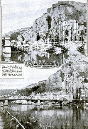 Battle of Dinant - The town of Dinant before (below) and after (above) the battle and massacres.
