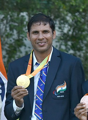 Devendra Jhajharia - Devendra Jhajharia with his gold medal from the 2016 Summer Paralympics