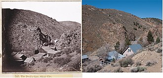 Silver City, Nevada - Devils Gate and Silver City. Left photo is circa 1866; right photo is 2010.