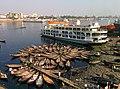 Dhaka - Taxi boats and ferry on Buriganga River.jpg