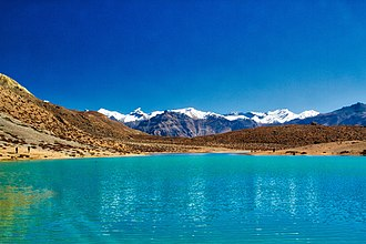 Dashair and Dhankar Lake - View of Dhaankar Lake in Spiti District, Himachal Pradesh, India. It is a high altitude lake situated at 4,270 meters altitude