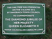 Diamond Jubilee Tree Plaque in Sandbach Park 3 June 2012.JPG