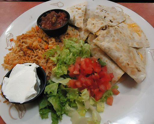Dinner at Friendlys restaurant quesedillas