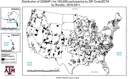 The distribution of rural CDSME program participantsvaried across the US. Analysis across rurality indicated that approximately 22.1% (using county-level rurality) to24.4% (using ZCTA/ZIP Code-level rurality) of CDSME programparticipants resided in rural areas. Distribution of the chronic-disease self-management program by ZIP Code and rurality.png