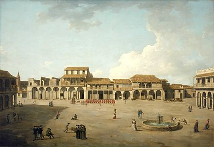 View of the plaza of Havana under British occupation. (Painting by Dominic Serres) Dominic Serres the Elder - The Piazza at Havana.jpg