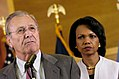 Donald Rumsfeld and Condoleezza Rice in Baghdad, Iraq, April 2006.jpg