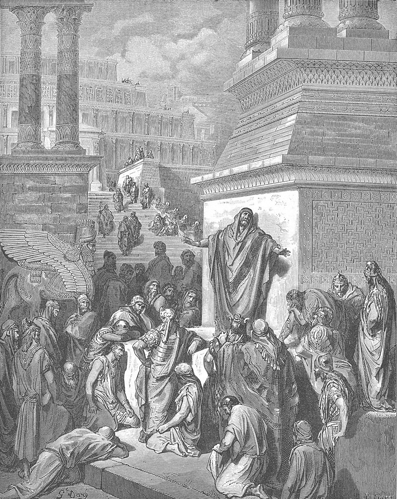 Jonah Preaching to the Ninevites by Gustave Doré (1866) available from wikipedia
