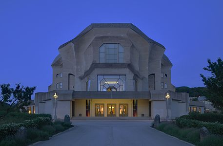 Goetheanum Dornach from west at dusk