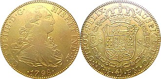 Doubloon - Spanish gold 4-doubloon coin (8 escudos), stamped as minted in Mexico city mint in 1798. Obverse: Carol.IIII.D.G. Hisp.et Ind.R. Reverse:.in.utroq.felix. .auspice.deo.fm.
