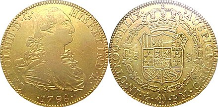 Spanish gold doubloon stamped as minted in 1798 Doubloon.jpg