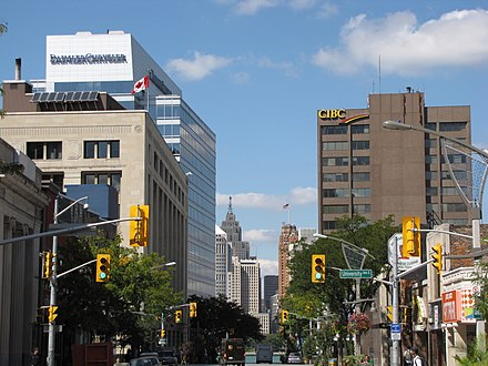 Downtown Windsor looking north along Ouellette Avenue toward Detroit Downtown Windsor Ontario.JPG