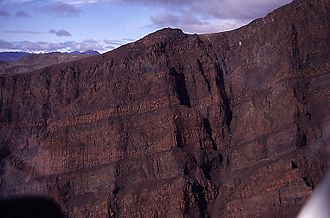 Arctic Cordillera - Dragon Cliffs, including the flood basalt lava layers