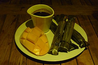 Tsokolate - Tsokolate with suman rice cakes and ripe carabao mangoes