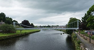Dumfries - Whitesands suspension footbridge over the Nith