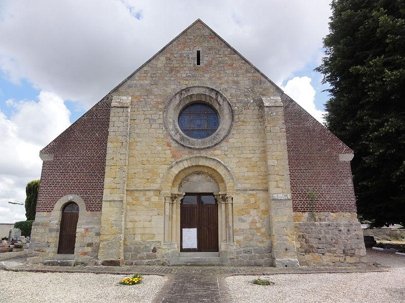 Dury (Aisne) église Saint-Médard, façade