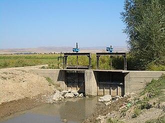 Ysyk-Ata District - Water flow gates on an irrigation canal near Milianfan village