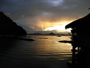 Sunrise from the resort at Miniloc island, Pal...