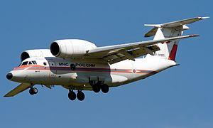 EMERCOM of Russia Antonov An-74 (RF-31350) on final approach at Ramenskoye Airport.jpg