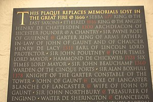 Paon de Roet - Roet's name listed amongst early graves lost noted on the memorial in St Paul's Cathedral