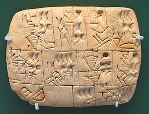 Assyrian Neo-Aramaic - Early writing tablet recording the allocation of beer, 3100–3000 BC