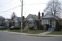 Post-war bungalows are the prevalent in the far northern extremities of Old East York