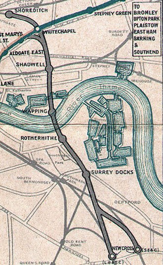 Shoreditch tube station - Shoreditch station on a 1915 map of the East London Line