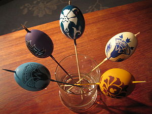 easter eggs in the stage of painting