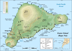 Easter Island map showing Terevaka, Poike, Rano Kau, Motu Nui, Orongo, and Mataveri; major ahus are marked with moai
