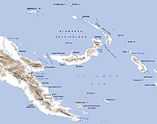Map of Papua and New Guinea. The Huon Peninsula juts out pointing towards New Britain