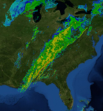 Radar image of eastern United States showing squall line