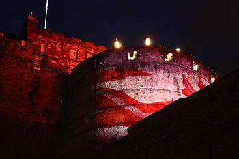 English: Edinburgh Castle Lightshow during Edi...