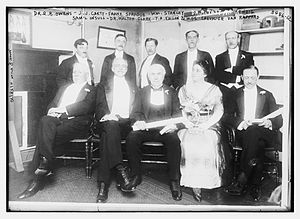 Franklin Medal - Presentation of the first Franklin Medal in Philadelphia on May 19, 1915. Front row: Samuel Insull, Walton Clark, recipient Thomas Edison and his wife Mina Miller, Chevalier Van Rappard, accepting the award for Heike Kamerlingh Onnes. Back row: Robert Bowie Owens, John J. Carty, Frank J. Sprague, William Stanley, R. Tait McKenzie.