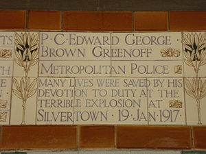Silvertown explosion - PC Greenoff's memorial plaque in Postman's Park