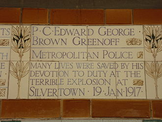 Silvertown explosion - PC Greenoff's memorial plaque in Postman's Park